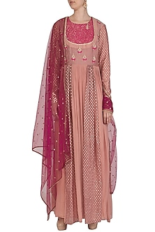 Rose Pink Embroidered Anarkali With Dupatta by Abhi Singh-SHOP BY STYLE
