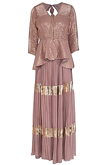 Dusty Rose Embroidered Peplum Top With Pleated Skirt by Abhi Singh