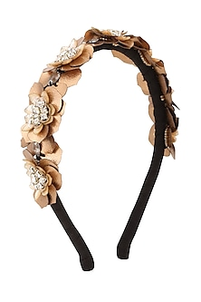 Golden Sequins and Crystal Embellished Woven Hairband by Studio Accessories