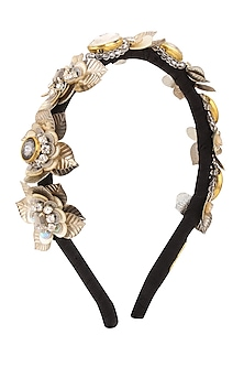 Silver Sequins and Crystal Embellished Woven Hairband by Studio Accessories