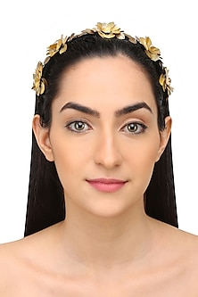 Yellow Floral Sequins and Crystal Embellished Woven Hairband by Studio Accessories