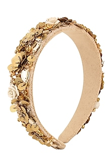 Bronze Floral Sequins and Crystal Embellished Woven Hairband by Studio Accessories