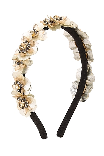 Golden Sequinned Floral Motifs Woven Hairband by Studio Accessories