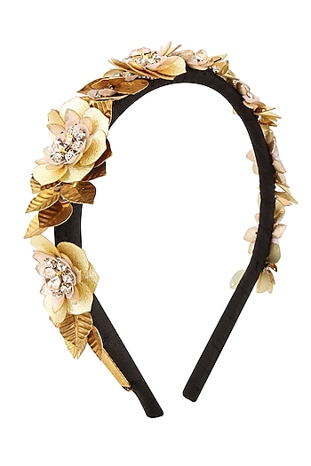 Golden Sequins and Crystal Floral Motifs Woven Hairband by Studio Accessories