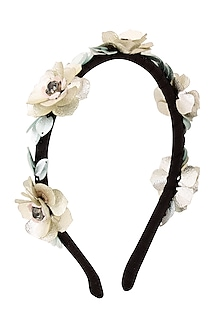 White Sequins and Crystal Floral Motifs Woven Hairband by Studio Accessories