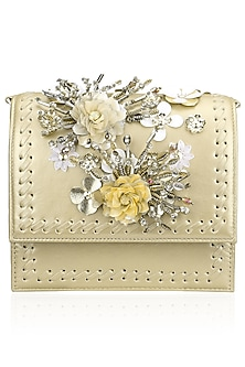 Gold and Yellow Crystal and Sequins Floral Motif Clutch by Studio Accessories