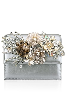 Grey Crystal and Sequins Floral Motif Clutch by Studio Accessories
