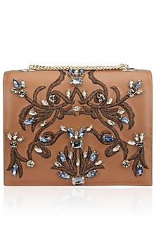 Tan Beaded Floral Motif Clutch by Studio Accessories