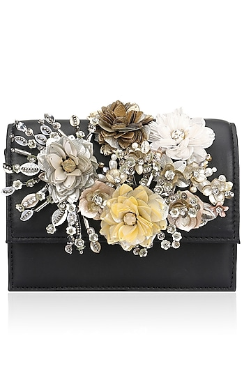 Multicolor Crystal and Sequins Floral Motif Black Base Clutch by Studio Accessories