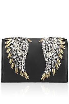 Black, Gold and Silver Wing Design Clutch by Studio Accessories