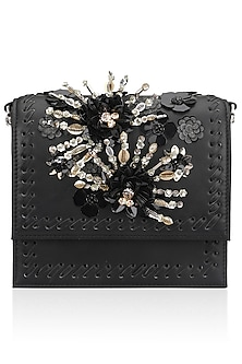 Black Tone On Tone Floral Motif Clutch by Studio Accessories