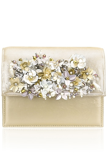 Biege and Gold Sequins Floral Motif Clutch by Studio Accessories