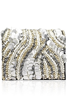Black and Silver Crystal and Sequins Leaf Motif Clutch by Studio Accessories
