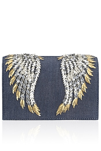 Denim Wing Design Clutch by Studio Accessories
