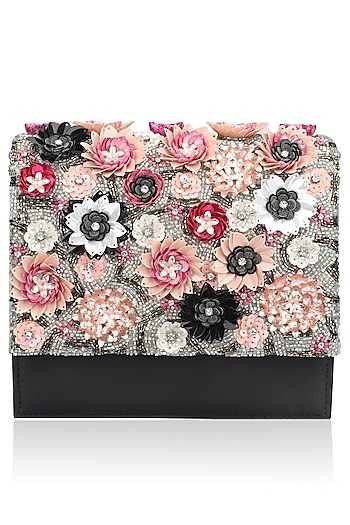 Black Beads Floral Motif Jaal Clutch by Studio Accessories