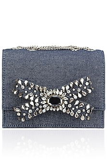 Blue Denim Beads Bow Design Clutch by Studio Accessories