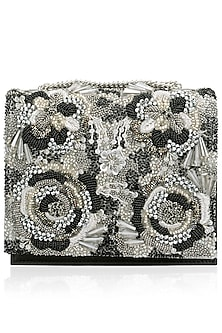 Black and Gold Beads and Crystals Floal Motif Clutch by Studio Accessories