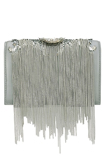 Grey Beaded Floral Motif Clutch by Studio Accessories