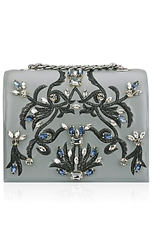 Grey Base Beaded Floral Motif Clutch by Studio Accessories