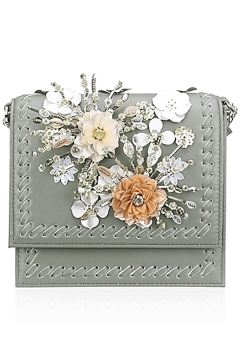 Grey, Orange and White Floral Motif Clutch by Studio Accessories