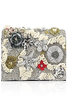 Grey Base Mutlicolor Flower Motif Clutch Bag by Studio Accessories