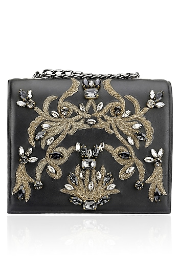 Black Beaded Floral Motif Clutch by Studio Accessories