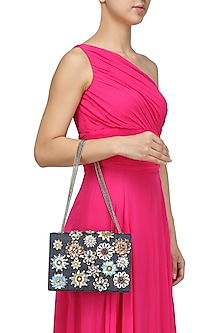 Black and Denim Floral Motif Clutch Bag by Studio Accessories