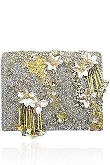 Grey and Gold Floral Motif Clutch Bag by Studio Accessories