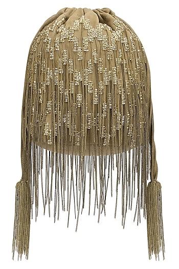 Brown Beaded Potli Bag by Studio Accessories