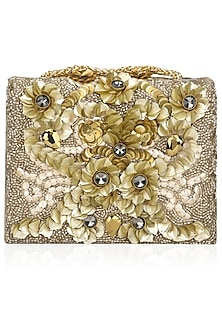 Gold Crystal and Sequinned Flowers Embellished Clutch Bag by Studio Accessories