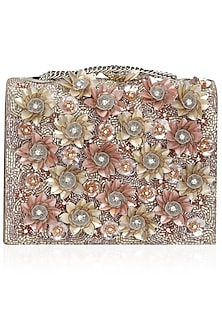 Multicolor Floral Embellished Clutch Bag by Studio Accessories