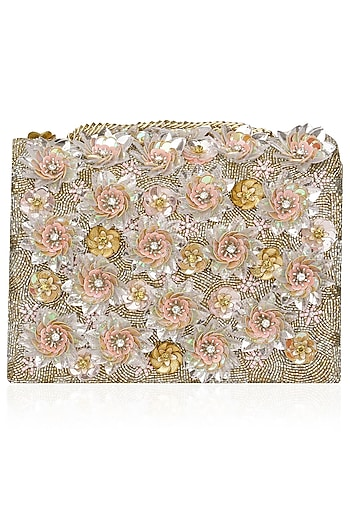 Beige Floral Crystal and Sequins Floral Embellished Bag by Studio Accessories