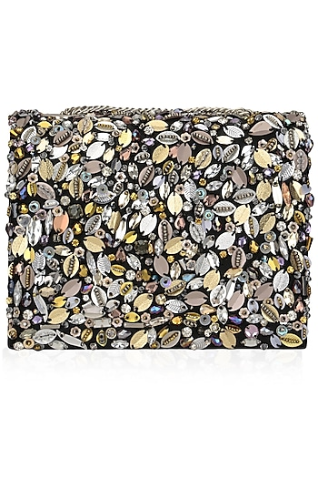 Multicolor Hand Beaded Clutch Bag by Studio Accessories
