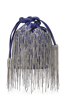 Blue Hand Beaded Potli Bag by Studio Accessories
