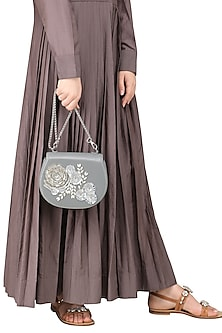 Grey Floral Clutch by Studio Accessories