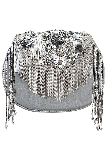 Silver Sequins Embellished Clutch by Studio Accessories