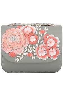 Grey Pearl Embellished Clutch by Studio Accessories