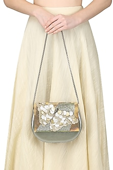 Silver Flower Motif Clutch by Studio Accessories