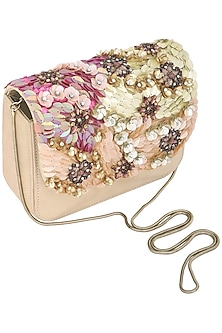 Beige Sequins Embellished Clutch by Studio Accessories