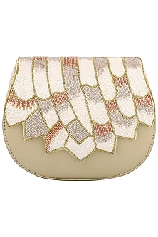 Golden Embellished Clutch by Studio Accessories