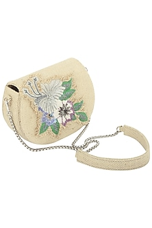 Beige Crystals and Beads Embellished Clutch by Studio Accessories