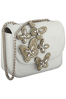 Silver Beads and Crystals Embellished Clutch by Studio Accessories