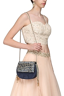 Blue Embellished Clutch by Studio Accessories