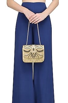 Golden Beads and Crystals Embellished Clutch by Studio Accessories