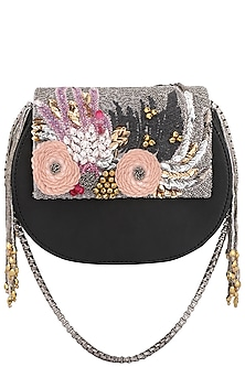 Black Multicolor Floral Embroidered Clutch by Studio Accessories
