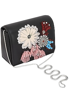 Black Sequins Embellished Clutch by Studio Accessories