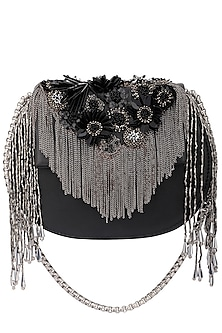 Black Floral Embellished Clutch by Studio Accessories