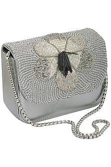 Grey Hand Beaded Clutch by Studio Accessories