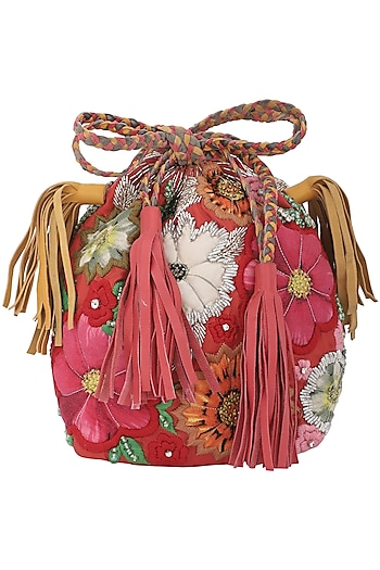 Red Embellished Potli Bag by Studio Accessories