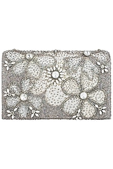 Silver Floral Clutch by Studio Accessories
